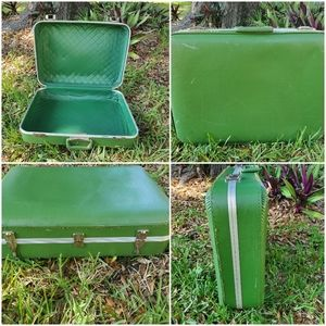 Vintage Green leather suitcase